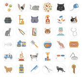 Cat characters and vet care icon set flat style Stock Photos