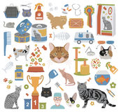 Cat characters and vet care icon set flat style Royalty Free Stock Images