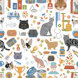Cat characters and vet care seamless pattern flat style. Vector illustration Stock Photography