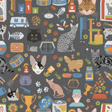 Cat characters and vet care seamless pattern flat style. Vector illustration Royalty Free Stock Photos