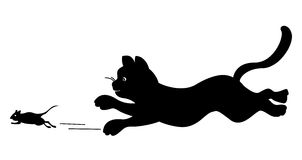 Cat chasing a mouse. Illustration of a silhouetted cat chasing a mouse, isolated on a white background Royalty Free Stock Images
