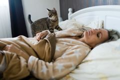 Cat checking sleeping woman on a bedv. Cat checking sleeping woman on a bed. Pet on your bedroom stock photo