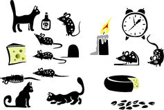 Cat, cheese, mice. Silhouettes of mice and cats, cheese, thematic selection on a theme a night life of the house Royalty Free Stock Photos
