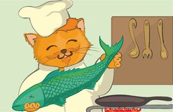 Cat - Chef. Fish in paws Cartoon vector. Cat - Chef. In clothes of the cook and a cap with fish in paws. A red cat. Cartoon Stock Images
