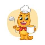 Cat Chef Holding Pan y cucharón libre illustration