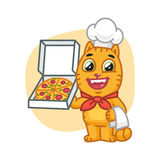Cat Chef Holding Pizza Box Photo stock