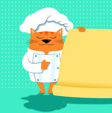 A cat chef with menu. A funny orange cat chef indicates a menu Royalty Free Stock Image
