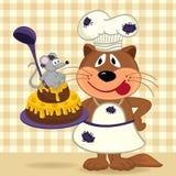 Cat chef prepare cake Stock Image