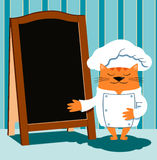 Cat chef in retro cartoon style shows a wooden menu board Stock Photography