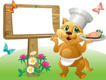Cat chef sign Royalty Free Stock Image
