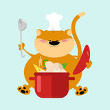 Cat chef sits with a pot of ready meals  Funny cartoon cat chef. Royalty Free Stock Image