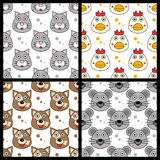 Cat Chicken Dog Mouse Seamless. A collection of four seamless patterns with funny cartoon animal faces (cat, chicken, dog and mouse),  on white background Royalty Free Stock Photo