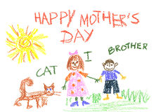 Cat and children royalty free illustration