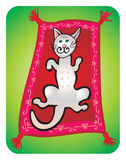 Cat children's drawing. Gray cat lying on the red  carpet and maditating Royalty Free Stock Image