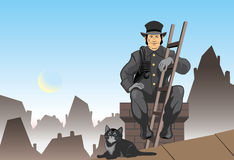 Cat and the chimney sweep. Vector color illustration the chimney sweep Royalty Free Stock Photography