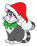 Cat in Christmas cap vector illustration. Cat in Christmas cap - vector illustration