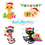 Cat Christmas Game. Set Of Christmas Cats Vector. Cartoon Cats With Holiday Gifts. Stock Photo