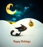 Cat with Christmas Globe alone in the snow under m. Oonlight | Layered EPS10 Vector Background Royalty Free Stock Photo