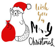Cat in Christmas hat with a red bag. Holiday lettering. Royalty Free Stock Images