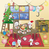 Cat Christmas party! Royalty Free Stock Image