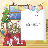 Cat Christmas party card Royalty Free Stock Photos