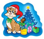 Cat with Christmas tree and gifts Stock Photos