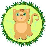 Cat in a Circular Leaf Frame Stock Photo