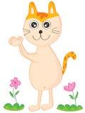 Cat Clap hands. Illustration cat clap hand flower landscape Stock Image