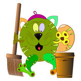 Cat cleaner. Cat cartoon cleaner character  illustration Stock Images