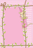 Cat Climb Rope_eps. Character cat climb rope with leaves, circles pattern backgrounds Stock Image