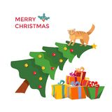 Cat climbes on Christmas tree and sits on it. Greeting inscription decorated with holly mistletoe. Christmas tree leaned to stack vector illustration
