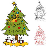 Cat Climbing Christmas Tree Royalty Free Stock Photos