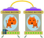 Cat clone. An illustration of a cat inside a cloning machine Royalty Free Stock Photography
