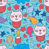 Cat cloud fish star line seamless pattern. This illustration is design and drawing cat, fish, cloud, flower, cup, snack, star, love and drop with line in Royalty Free Stock Photography