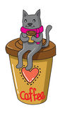 Cat with coffee Royalty Free Stock Photography