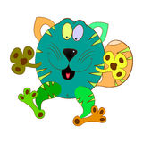 Cat colorful. Cat cartoon character comic  illustration Royalty Free Stock Photo