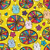 Cat colorful circle style seamless pattern Stock Image