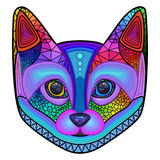 Cat, colorful, head, ornament, abstraction, vector Stock Photography