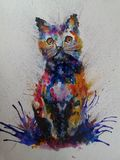 Cat Colorful Painting royalty-vrije stock afbeelding
