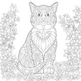 Zentangle spring cat Royalty Free Stock Images