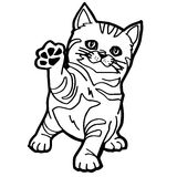 Cat Coloring Page. Cartoon Cat Coloring Page for kid isolated on white Royalty Free Stock Photography