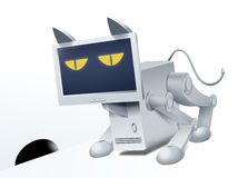Cat-computer. Robocat. Stock Photography