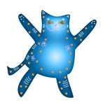 Cat for congratulations. Illustration blue cat with embraces Stock Illustration