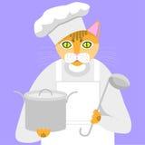 cat cook vector illustration
