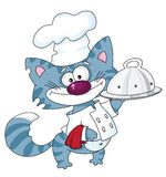Cat the cook with tray royalty free illustration