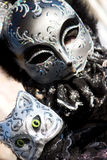 A cat costume in Venice. A cat costume at the Venice Carnival. Focus on the model cat in the foreground Stock Photos
