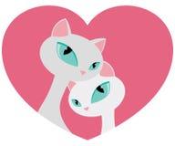 Cat Couple Tender Embrace bianca elegante nell'illustrazione di vettore di giorno di biglietti di S. Valentino di forma del cuore Fotografia Stock