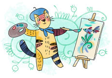 Cat - creative artist royalty free stock image