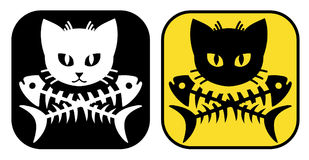 Cat Crossbones. Cat head fish crossbones for cat lover. Very cool for print on sticker, hat, and tshirt Royalty Free Stock Photography