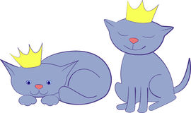 Cat and crown. The sitting and lying kitten Royalty Free Stock Image